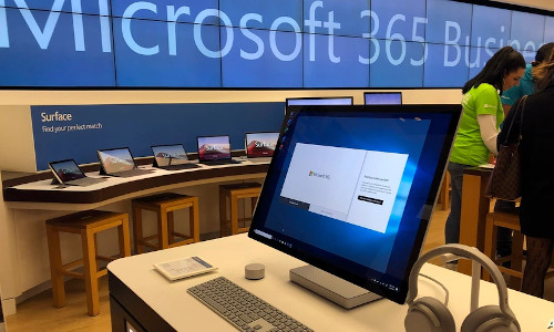A computer displayed at a Microsoft store. The Biden administration blames China for a hack of Microsoft Exchange email server software that compromised thousands of computers around the world